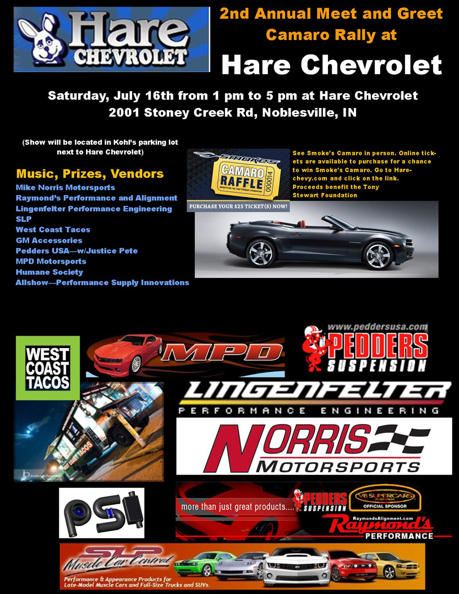 Meet U0026amp; Greet Camaro Rally At Hare Chevrolet In Noblesville, IN July 16  More Infor