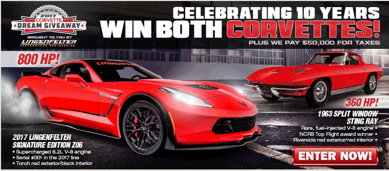 "Enter To Win a 1963 Corvette Sting Ray ""Fuelie"" and a 2017 Lingenfelter Signature Edition Corvette!"